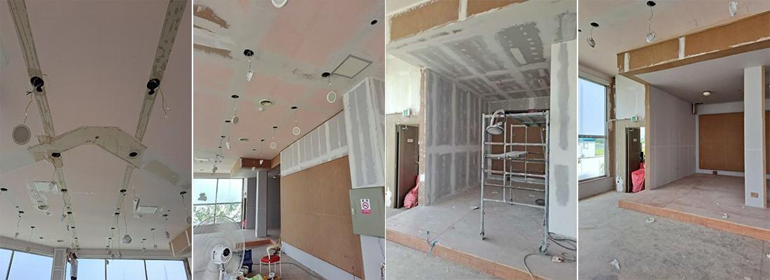 실내전체 천장도배지 및 천장석고구멍보수작업및 내주 퍼터 칠공사 전