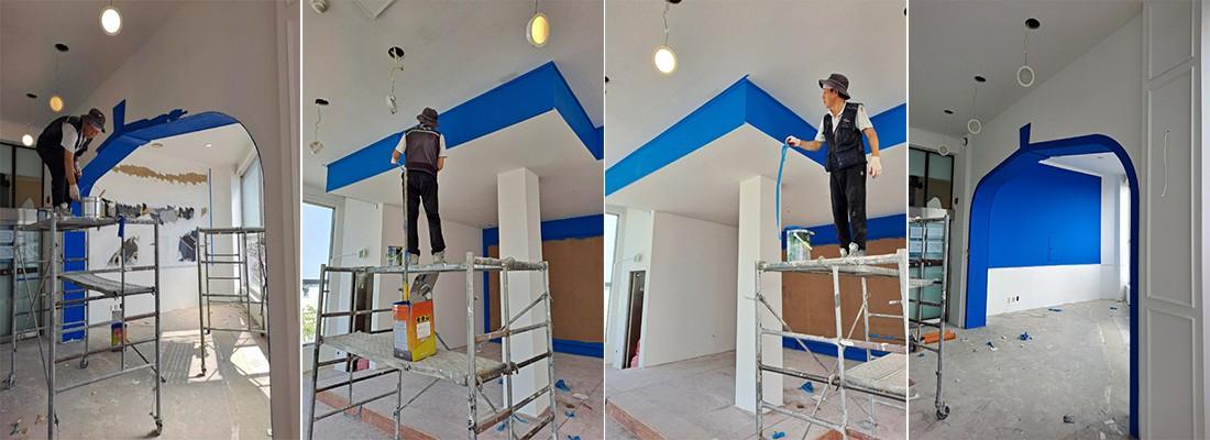 실내전체 천장도배지 및 천장석고구멍보수작업및 내주 퍼터 칠공사 후